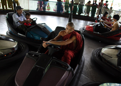 meditation monk driving